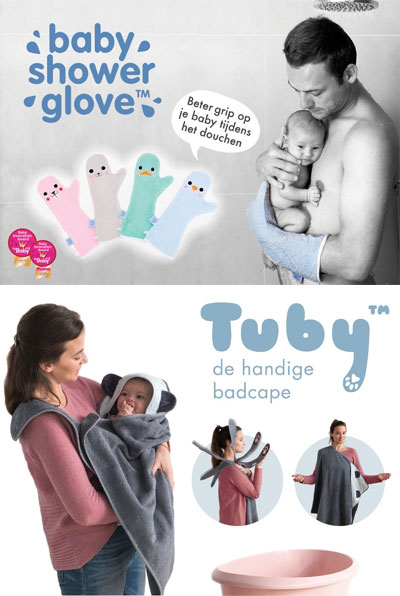 Baby shower glove en Tuby badcape